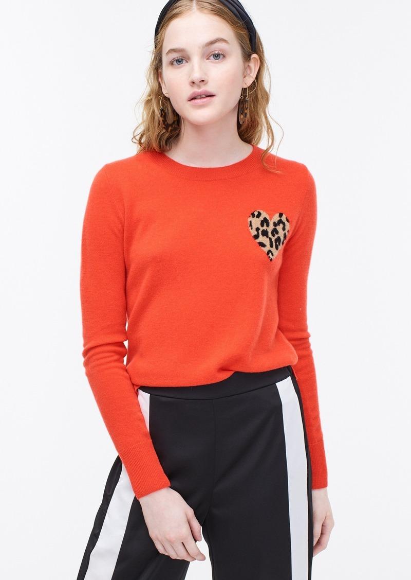 J.Crew Cashmere crewneck sweater with leopard heart