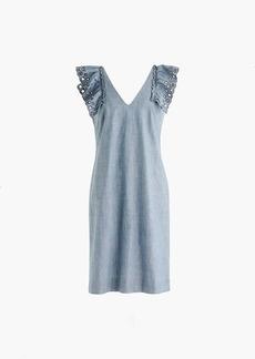 Chambray ruffle-shoulder sheath dress