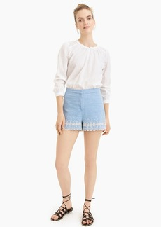 J.Crew Chambray short with embroidered scalloped trim