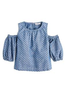 J.Crew Chambray Stars Peekaboo-Shoulder Top (Toddler Girls, Little Girls & Big Girls)