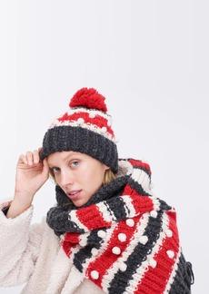 J.Crew Chunky knit bobble beanie in stripe