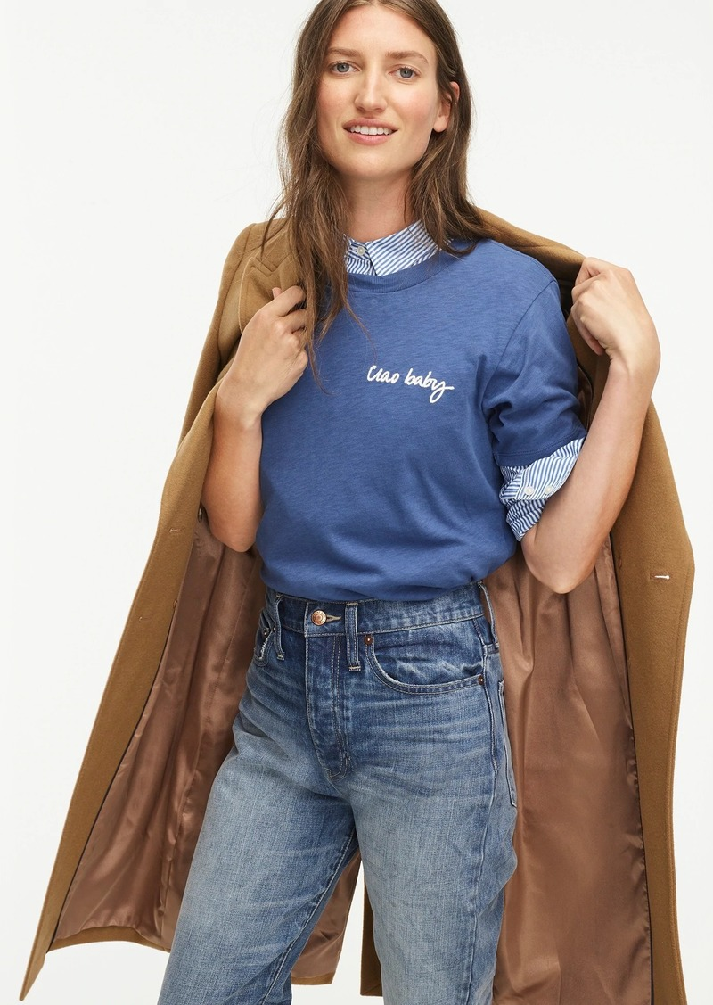 "J.Crew ""Ciao baby"" short-sleeve cotton T-shirt"