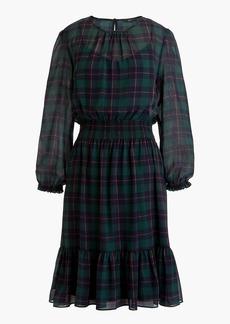 J.Crew Cinched-waist dress in Black Watch plaid chiffon