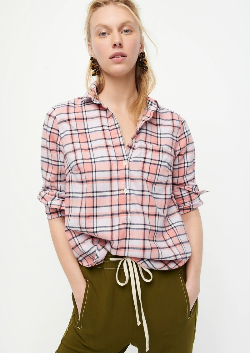 J.Crew Classic popover shirt in rose tartan flannel