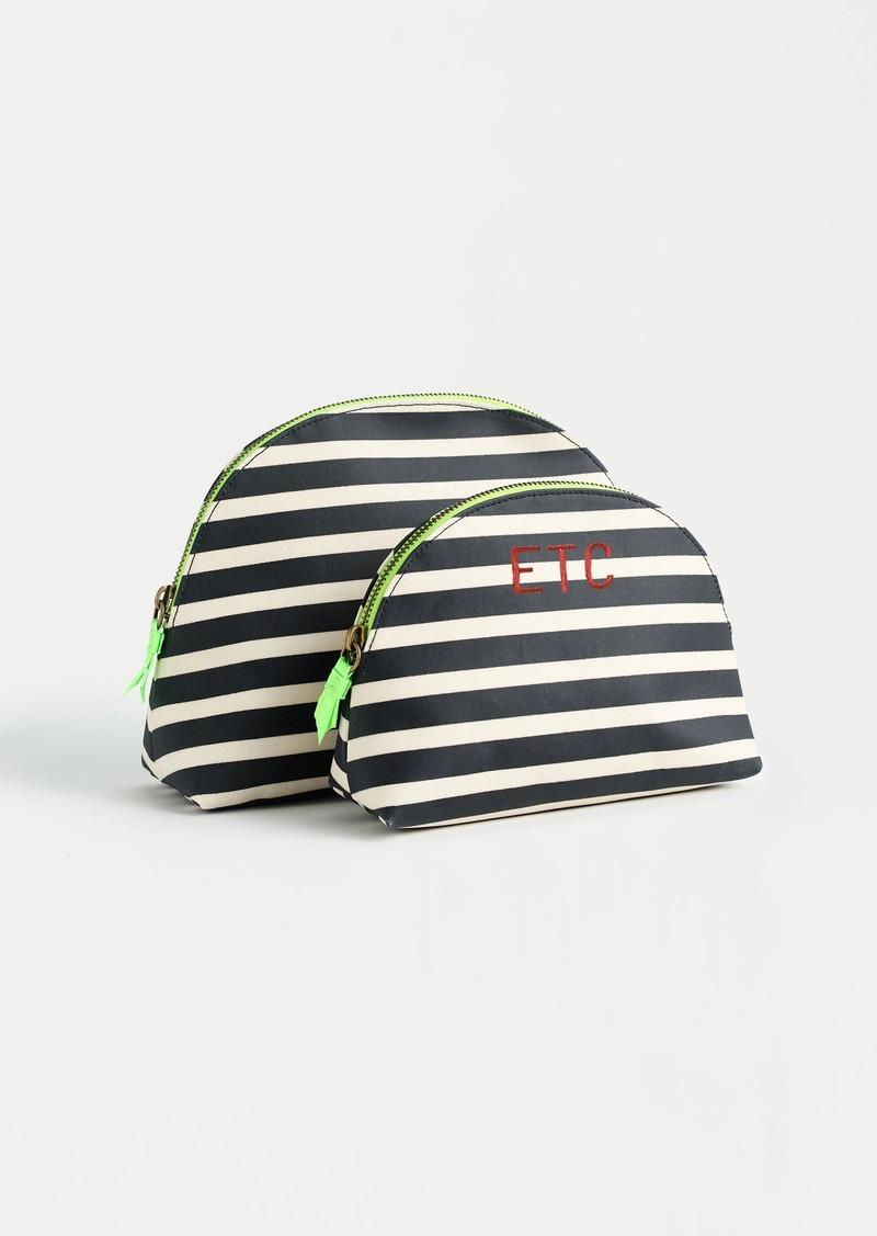 Coated canvas dopp kit set in stripes