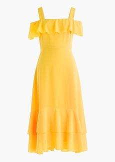 Cold-shoulder silk dress
