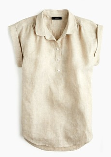 J.Crew Collared popover shirt in cross-dyed linen