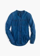 J.Crew Collarless button-up shirt in indigo