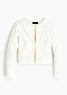 J.Crew Collarless cropped jacket in bi-stretch cotton
