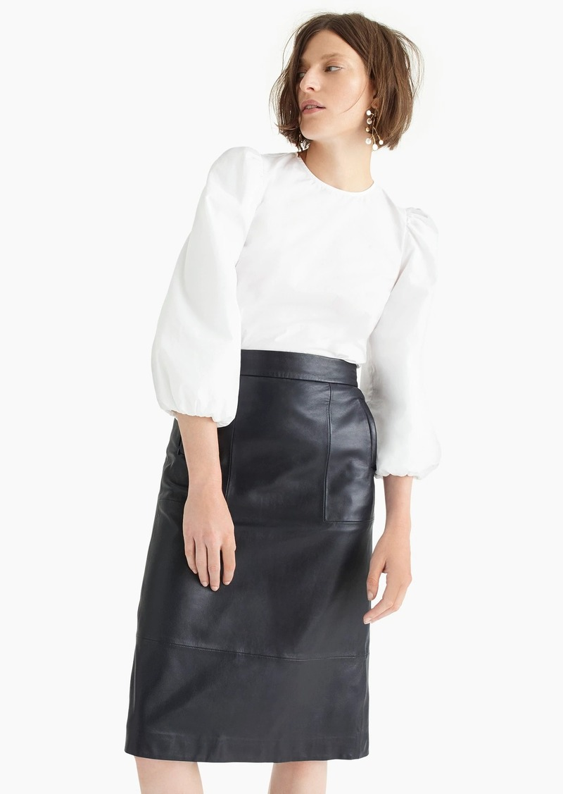 J.Crew Collection A-line midi skirt in leather
