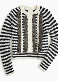 J.Crew Collection cable-knit embellished sweater