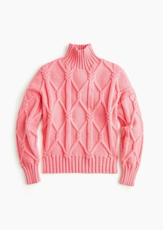 J.Crew Collection cable-knit mockneck sweater in dusty azalea