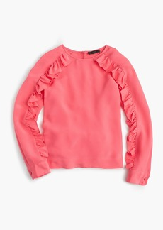 J.Crew Collection crepe de chine top with ruffle sleeves