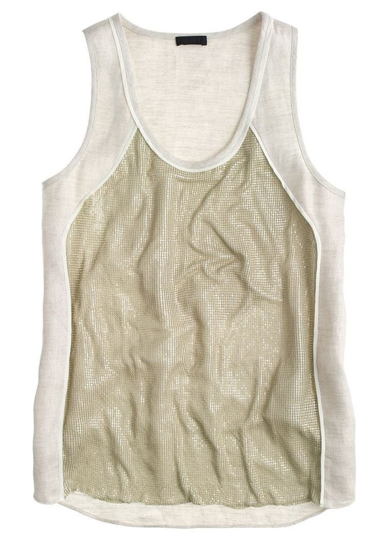 J.Crew Collection linen chain-mail tank top
