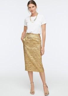 J.Crew Collection pencil skirt in metallic leaf jacquard