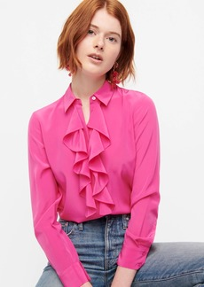 J.Crew Collection ruffle-front blouse in Re-Imagined Silk