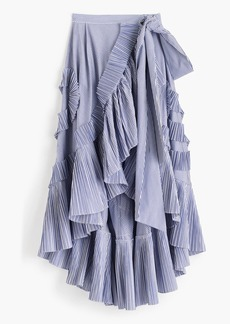 J.Crew Collection ruffle skirt in striped shirting fabric