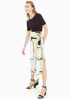 J.Crew Collection satin-crepe midi wrap skirt in geometric print