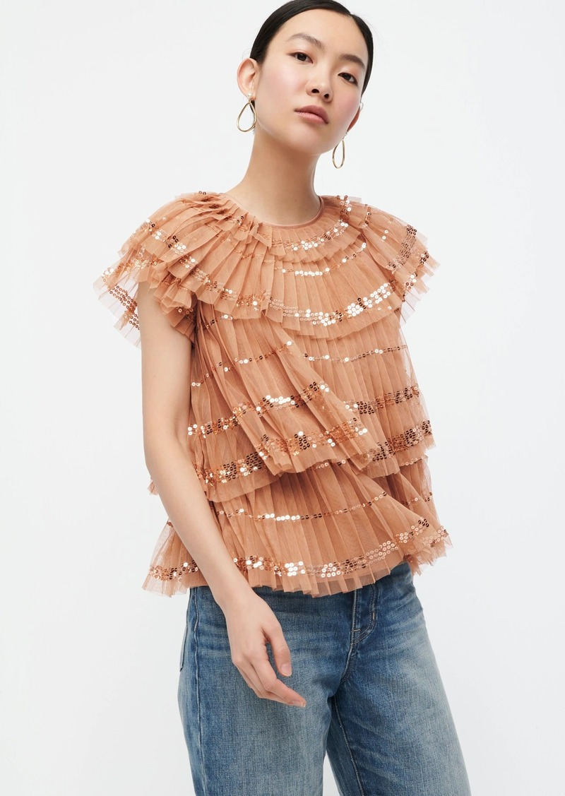 J.Crew Collection sequin tiered tulle blouse