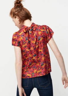 J.Crew Collection silk bow-back top in jungle cat floral print