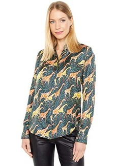 J.Crew Collection Silk Twill Shirt in Sleepy Giraffes Print