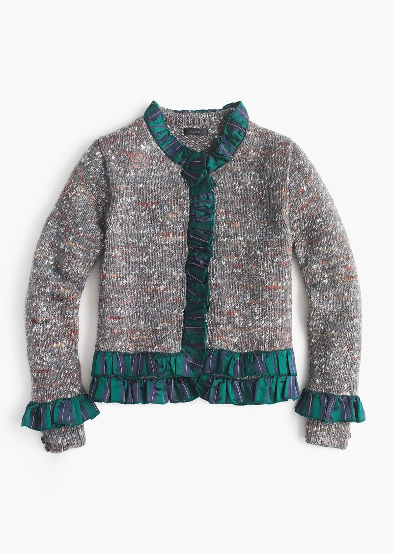 8200cb07b8b J.Crew Collection sweater lady jacket with tartan trim