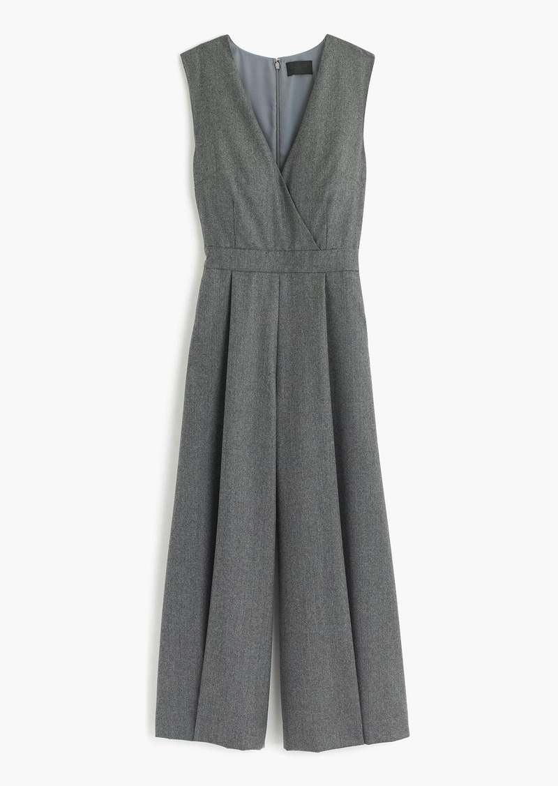 J.Crew Collection wide-leg cropped jumpsuit in wool flannel