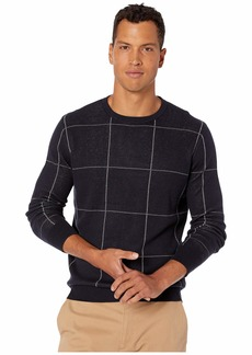 J.Crew Cotton-Cashmere Bird's-Eye Crewneck Sweater in Windowpane