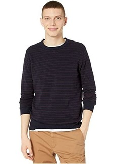 J.Crew Cotton-Cashmere Piqué Line Stripe Crewneck Sweater