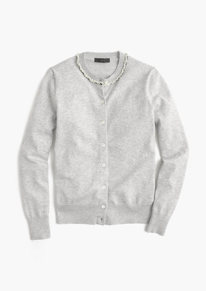 J.Crew Cotton Jackie beaded cardigan sweater | Sweaters - Shop It ...