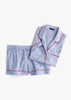J.Crew Cotton pajama set in heart-print