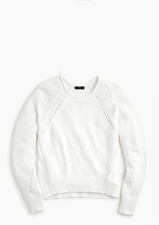 J.Crew Cotton pullover sweater with pointelle stitching