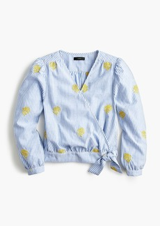J.Crew Cotton wrap top in embroidered pineapple