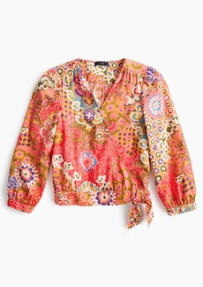 J.Crew Petite cotton wrap top in paisley