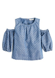 crewcuts by J.Crew Chambray Stars Peekaboo-Shoulder Top (Toddler Girls, Little Girls & Big Girls)
