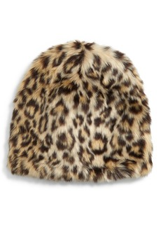 crewcuts by J.Crew Leopard Faux Fur Hat (Big Girls)