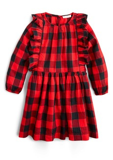 crewcuts by J.Crew Plaid Ruffle Trim Flannel Dress (Toddler Girls, Little Girls & Big Girls)