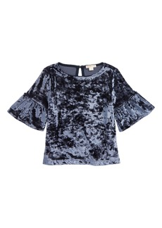crewcuts by J.Crew Ruffle Sleeve Stretch Velvet Top