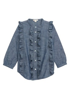 crewcuts by J.Crew Ruffle Trim Chambray Top (Toddler Girls, Little Girls & Big Girls)