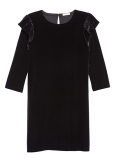 crewcuts by J.Crew Ruffle Trim Stretch Velvet Dress (Toddler Girls, Little Girls & Big Girls)