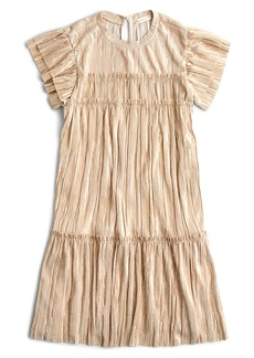 crewcuts by J.Crew Shimmer Metallic Flutter Sleeve Dress (Toddler Girls, Little Girls & Big Girls)