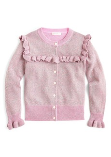 crewcuts by J.Crew Sparkly Ruffle Trimmed Cardigan Sweater (Toddler Girls, Little Girls & Big Girls)