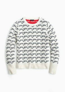 "J.Crew Crewneck colorblock sweater in jacquard ""Yes/No"""