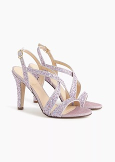 J.Crew Crisscross strappy heels (105mm) in glitter