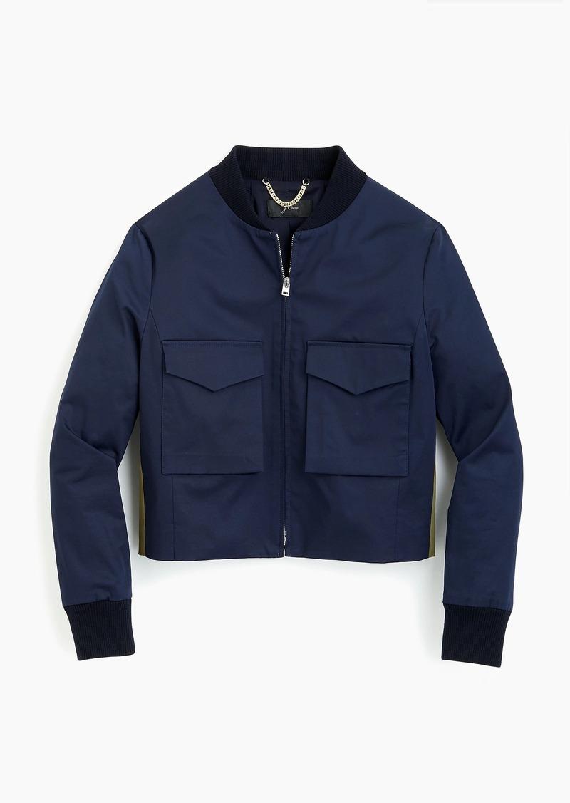 f6e3c67e5 Cropped bomber jacket with side stripes