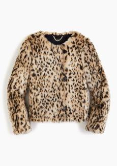 J.Crew Cropped faux-fur coat in snow leopard