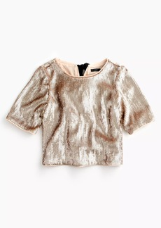 J.Crew Cropped sequin top in rose gold