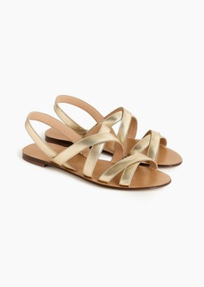 J.Crew Cross-strap sandals in metallic gold leather