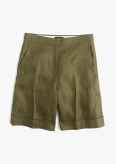 Cuffed bermuda short in linen