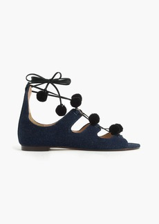 Denim caged gladiator sandals with pom-poms